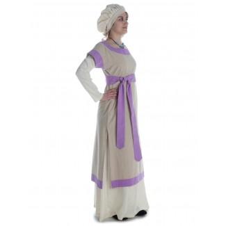 Mittelalter Kleid Linde in Hanffarben-Violett Seitenansicht 2