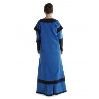 Mittelalter Kleid Linde in Königsblau-Schwarz Rückansicht