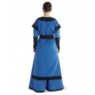 Mittelalter Kleid Linde in Königsblau-Schwarz Rückansicht 2