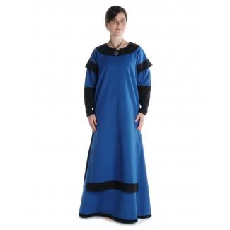 Mittelalter Kleid Linde in Königsblau-Schwarz Frontansicht