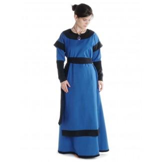 Mittelalter Kleid Linde in Königsblau-Schwarz Frontansicht 2