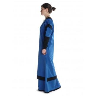 Mittelalter Kleid Linde in Königsblau-Schwarz Seitenansicht
