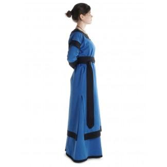 Mittelalter Kleid Linde in Königsblau-Schwarz Seitenansicht 2