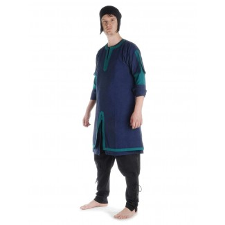 Wikinger Tunika Thor in Blau-Grün Seitenansicht