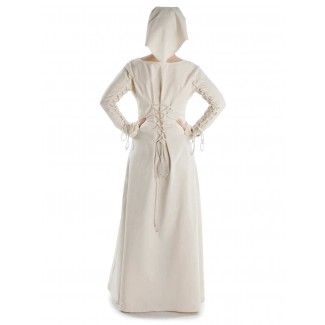 Mittelalter Kleid Hildegunde in Beige Rückansicht