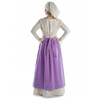 Mittelalter Kleid Hildegunde in Beige Rückansicht 2