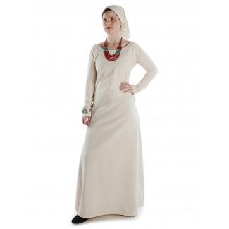 Mittelalter Kleid Hildegunde in Beige Frontansicht