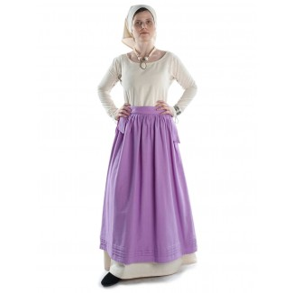 Mittelalter Kleid Hildegunde in Beige Frontansicht 3