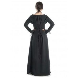 Mittelalter Kleid Hildegunde in Schwarz Rückansicht