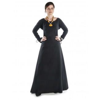 Mittelalter Kleid Hildegunde in Schwarz Frontansicht
