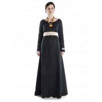 Mittelalter Kleid Hildegunde in Schwarz Frontansicht 2