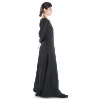 Mittelalter Kleid Hildegunde in Schwarz Seitenansicht