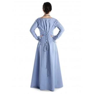 Mittelalter Kleid Hildegunde in Hellblau Rückansicht