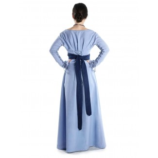 Mittelalter Kleid Hildegunde in Hellblau Rückansicht 2
