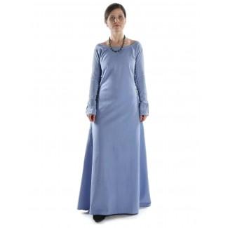 Mittelalter Kleid Hildegunde in Hellblau Frontansicht