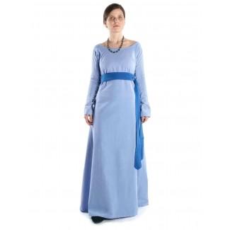 Mittelalter Kleid Hildegunde in Hellblau Frontansicht 2