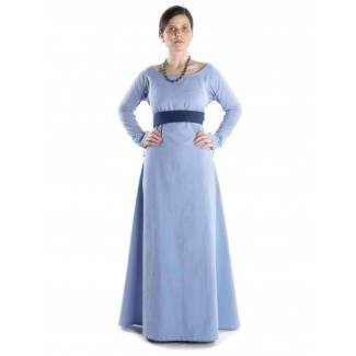 Mittelalter Kleid Hildegunde in Hellblau Frontansicht 3