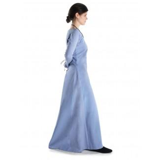 Mittelalter Kleid Hildegunde in Hellblau Seitenansicht