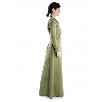 Mittelalter Kleid Hildegunde in Hellgrün Rückansicht