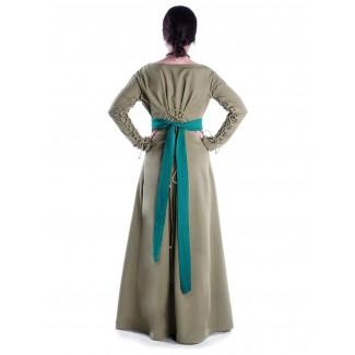 Mittelalter Kleid Hildegunde in Hellgrün Rückansicht 2
