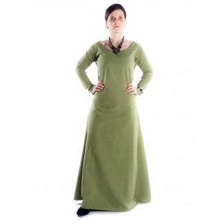 Mittelalter Kleid Hildegunde in Hellgrün Frontansicht