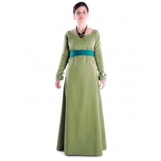 Mittelalter Kleid Hildegunde in Hellgrün Frontansicht 2