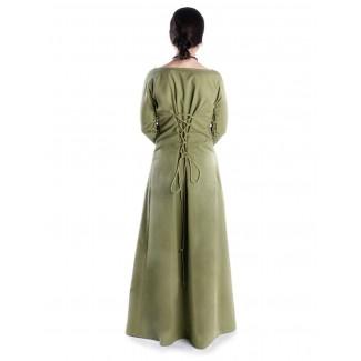 Mittelalter Kleid Hildegunde in Hellgrün Seitenansicht
