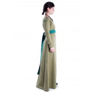 Mittelalter Kleid Hildegunde in Hellgrün Seitenansicht 2