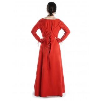 Mittelalter Kleid Hildegunde in Rot Rückansicht