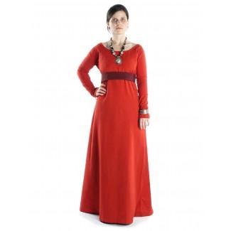 Mittelalter Kleid Hildegunde in Rot Frontansicht 2