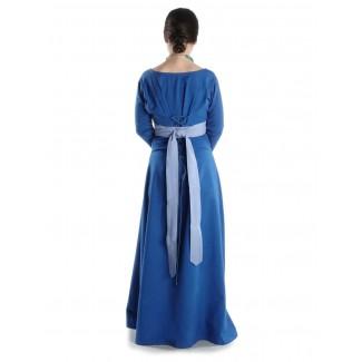 Mittelalter Kleid Hildegunde in Königsblau Rückansicht