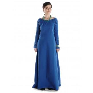 Mittelalter Kleid Hildegunde in Königsblau Frontansicht