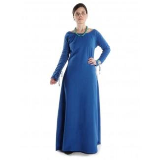 Mittelalter Kleid Hildegunde in Königsblau Frontansicht 2