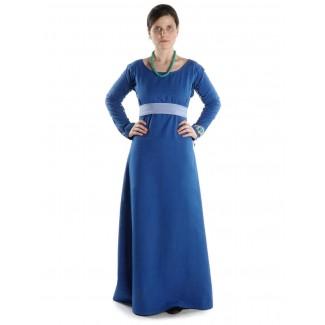 Mittelalter Kleid Hildegunde in Königsblau Frontansicht 3