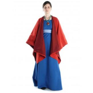 Mittelalter Kleid Hildegunde in Königsblau Frontansicht 4