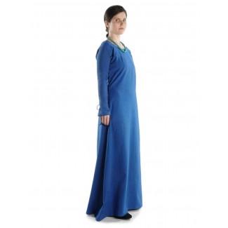 Mittelalter Kleid Hildegunde in Königsblau Seitenansicht