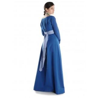 Mittelalter Kleid Hildegunde in Königsblau Seitenansicht 2