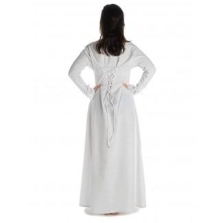 Mittelalter Kleid Hildegunde in Weiß Rückansicht