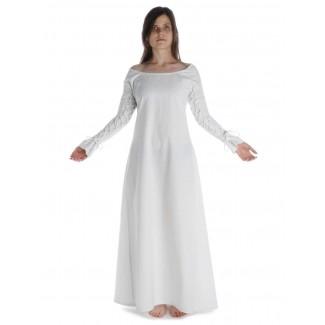 Mittelalter Kleid Hildegunde in Weiß Frontansicht
