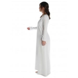 Mittelalter Kleid Hildegunde in Weiß Seitenansicht