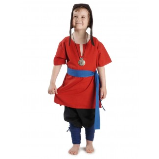 Mittelalter Kinderwadenwickel Boer in Blau Frontansicht 3