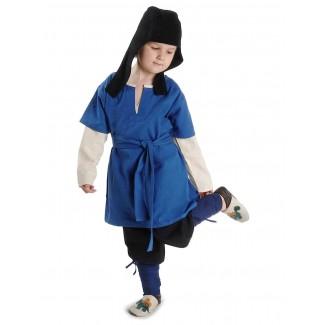 Mittelalter Kinderwadenwickel Boer in Blau Frontansicht 5