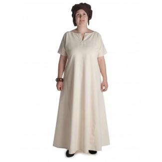 Mittelalter Kleid Hrist in Beige Frontansicht