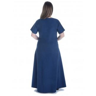 Mittelalter Kleid Hrist in Blau Rückansicht
