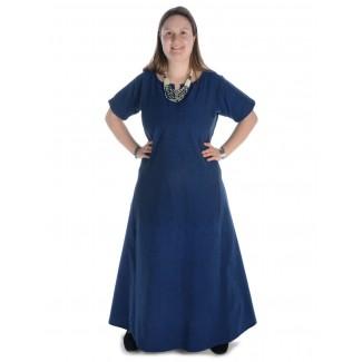 Mittelalter Kleid Hrist in Blau Frontansicht