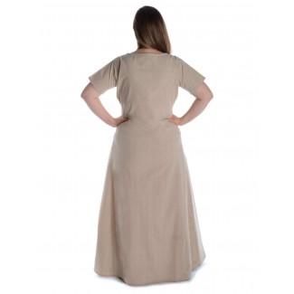 Mittelalter Kleid Hrist in Hanffarben Rückansicht