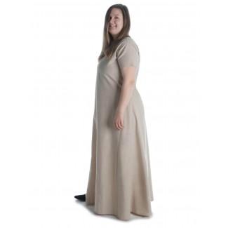 Mittelalter Kleid Hrist in Hanffarben Seitenansicht