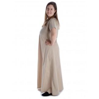 Mittelalter Kleid Hrist in Hanffarben Seitenansicht 2