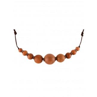 Mittelalter Halskette Arundel aus Sandelholz in Beige Detailansicht