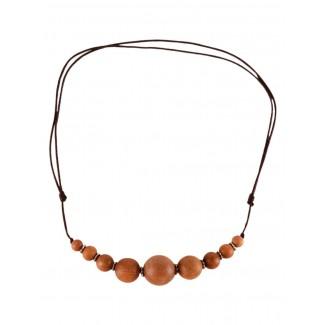 Mittelalter Halskette Arundel aus Sandelholz in Beige Frontansicht